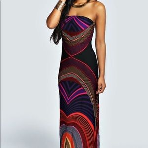 Boohoo Toni Strapless Maxi Dress Black US 4 XS S